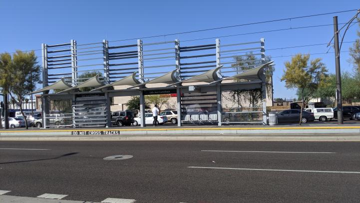 19th Ave / Camelback light rail station after repainting