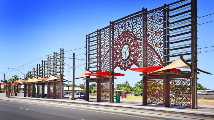 Alma School and Main Street light rail station art in Mesa