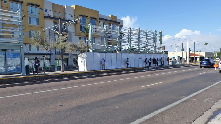 Light rail station at McClintock / Apache Blvd during painting