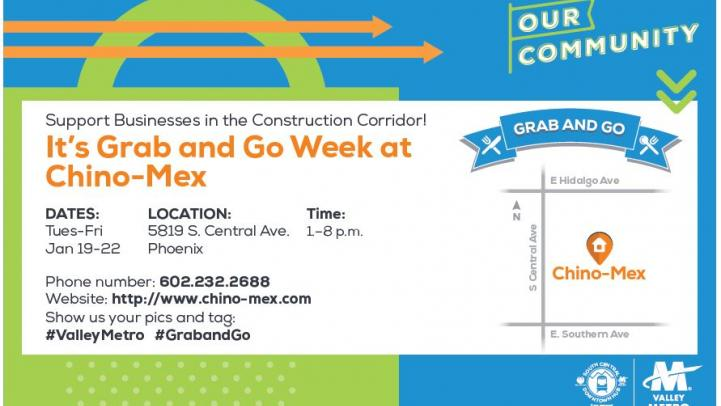 Grab and Go event flier.
