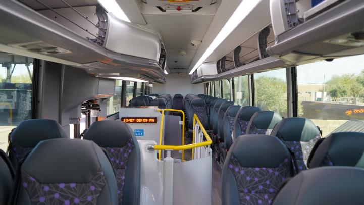 back of seats inside bus