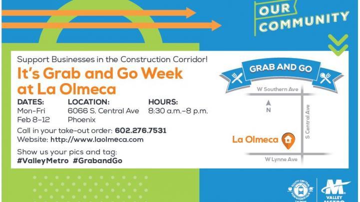 La Olmeca Grab and Go event flier.