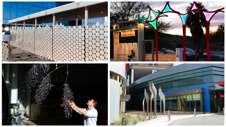 Art collage of new Valley Metro station artist, Joe O'Connell.