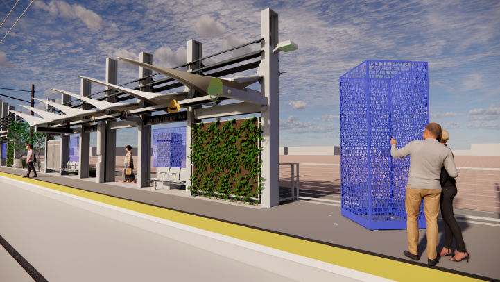 Rendering of Station Art along Central Avenue and Lincoln Street.