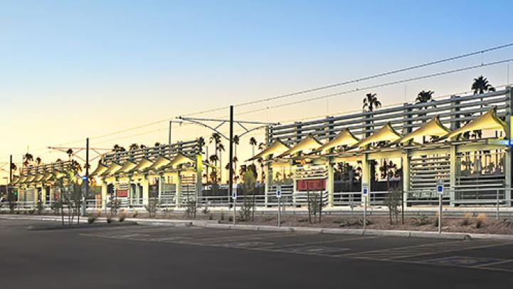 Light rail station at sunset