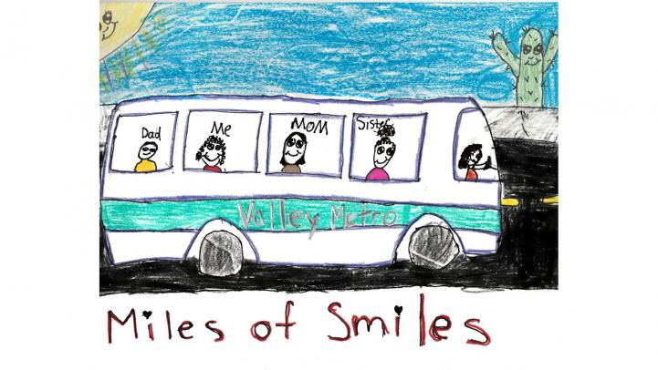 Artwork showing a Valley Metro bus with a family riding together.