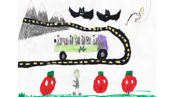 Artwork showing a Valley Metro bus traveling down the street with bats and pumpkins along the route.