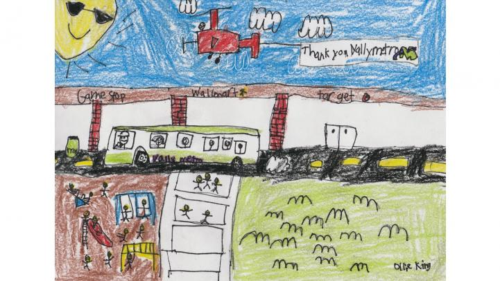 Artwork showing a Valley Metro bus stopping at a shopping center with children at a playground.