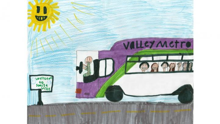 "Artwork showing a Valley Metro bus entering ""Smile-ville"""