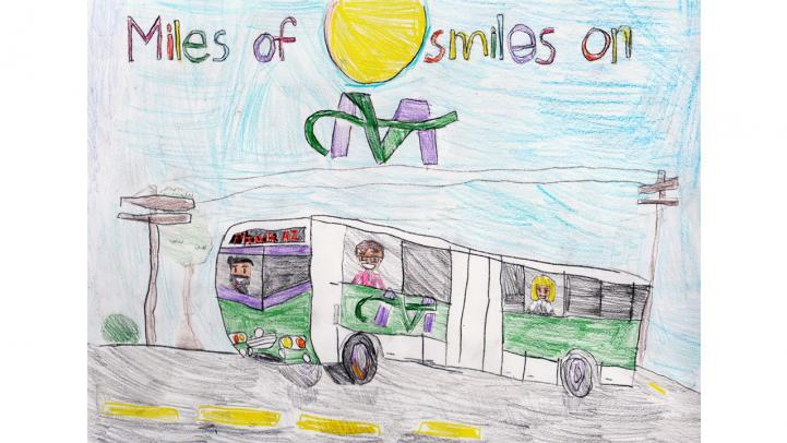 Artwork showing a Valley Metro light rail with a caption saying Miles of smiles on Valley Metro.