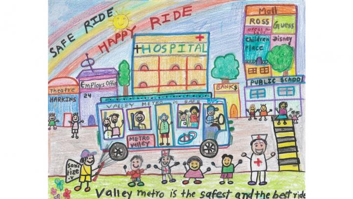 "artwork showing a valley metro bus driving through the city with the caption ""Safe ride. Happy ride. Valley Metro is the safest and the best ride."""