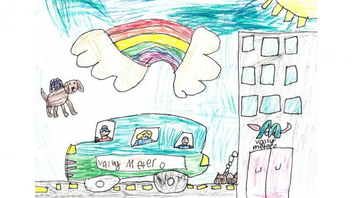 Artwork of a bus driving by the Valley Metro building with a rainbow overhead.
