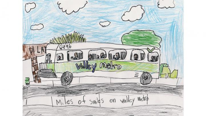 """Artwork showing a Valley Metro bus pulling up to a bus stop. The caption reads """"Miles of smiles on Valley Metro."""""""