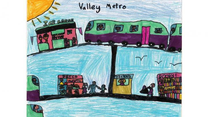 Artwork showing a Valley Metro light rail stopping at various locations, including an ice cream shop, Petco and the library.