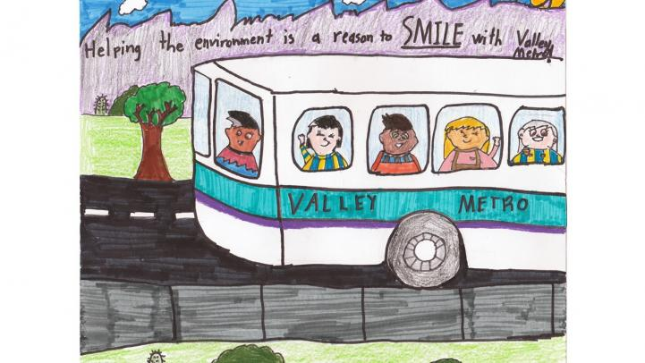 "Artwork of a Valley Metro bus with happy riders and a caption saying ""Helping the environment is a reason to smile with Valley Metro."""