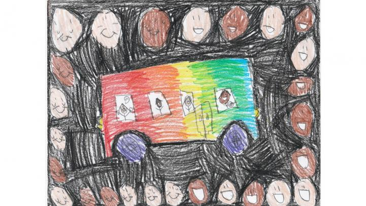 Artwork showing a rainbow Valley Metro bus surrounded by faces with smiles.