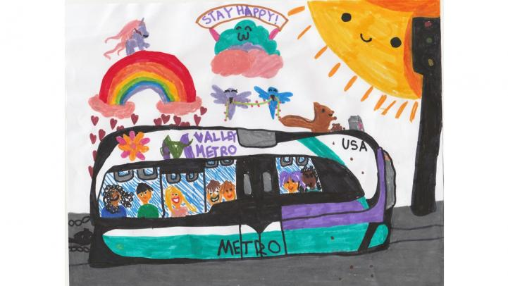 Artwork showing a Valley Metro light rail with happy riders, surrounded by animals, a rainbow and the sun.
