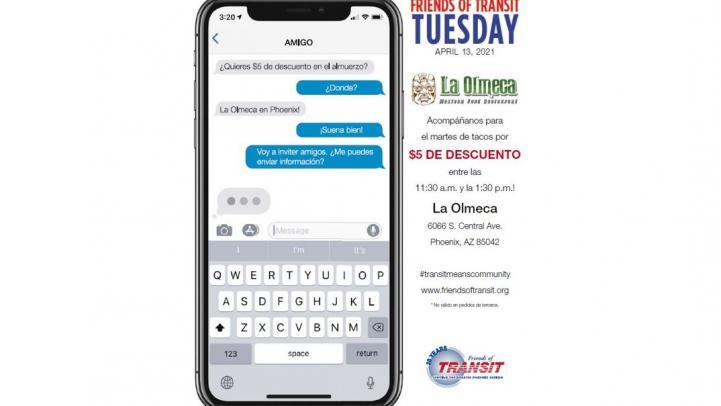 Friend of Transit Tuesday at La Olmeca flier. More information below.