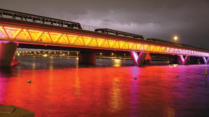 Tempe Town Lake Bridge yellow and orange light effects