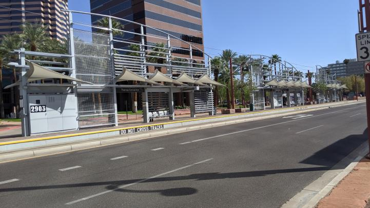 Thomas / Central Ave light rail station after repainting