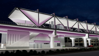 Future Metrocenter Station (looking northeast). Nighttime station lighting color will be adjustable.