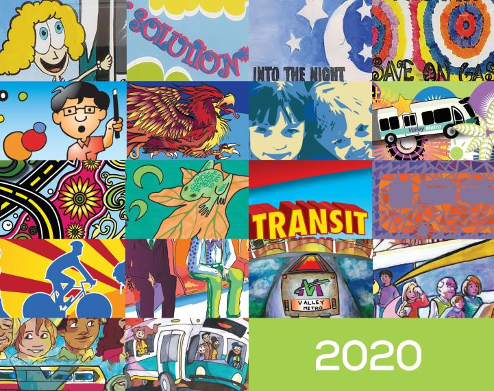 A collage of artwork from past Design a Transit Wrap winners
