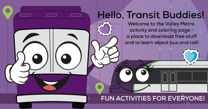 Cartoon picture of a bus and light rail promoting fun activities for everyone