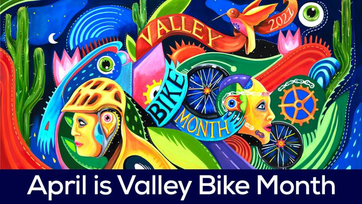 Artwork for Valley Bike Month featuring a biker, gears, tired, and other elements celebrating the uniqueness of the Valley.