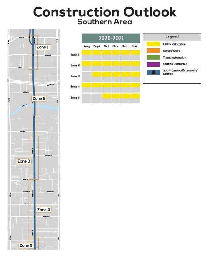 Six month construction outlook map for southern Phoenix area. See description below for details.