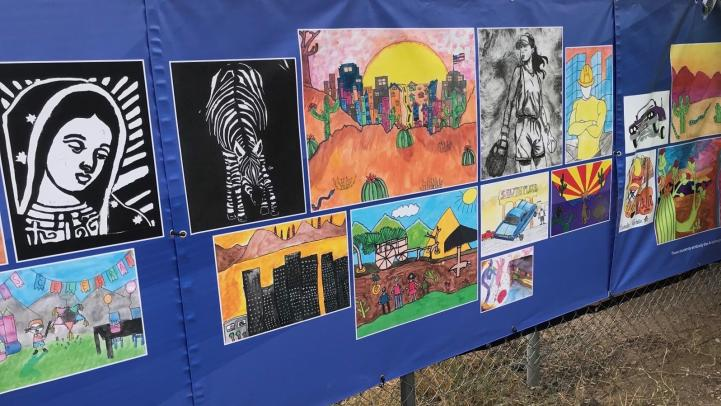 Student artwork banners displayed on Central Ave