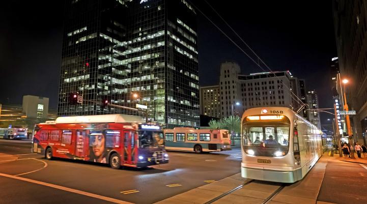 Bus and Light Rail Train