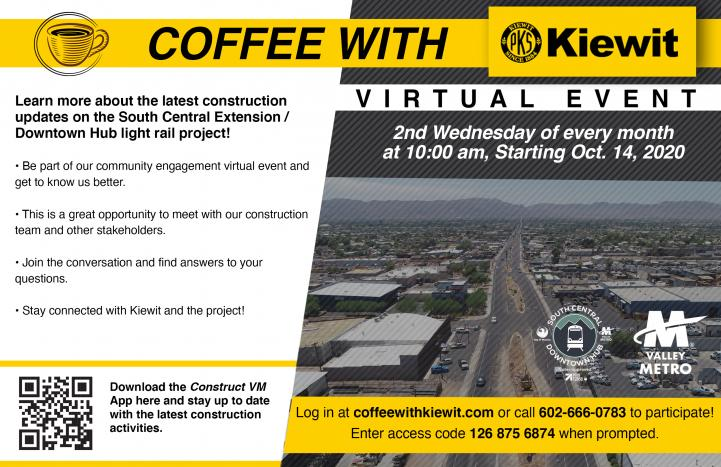 Coffee with Kiewit flyer. See description below for more details.
