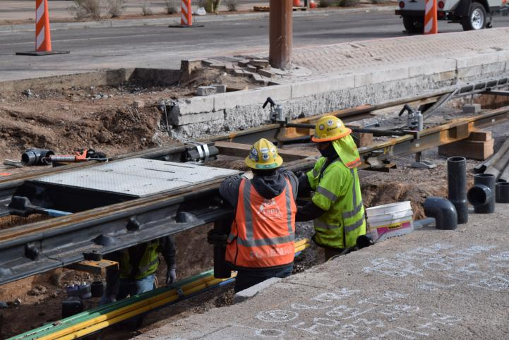 Downtown track installation for South Central Extension