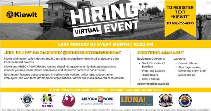Kiewit Hiring Event Flyer. More information in description below.