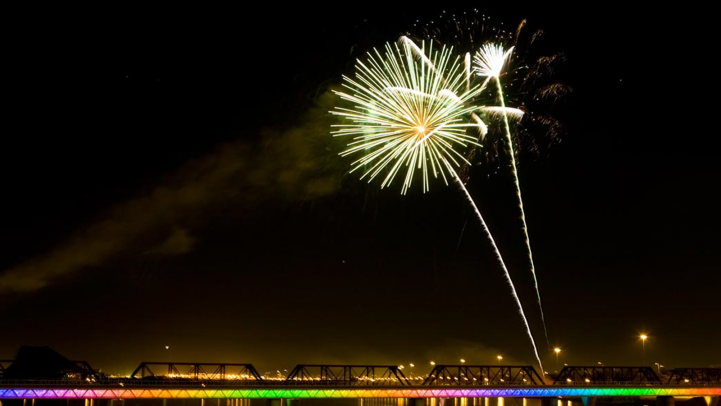 Fireworks over Tempe Town Lake