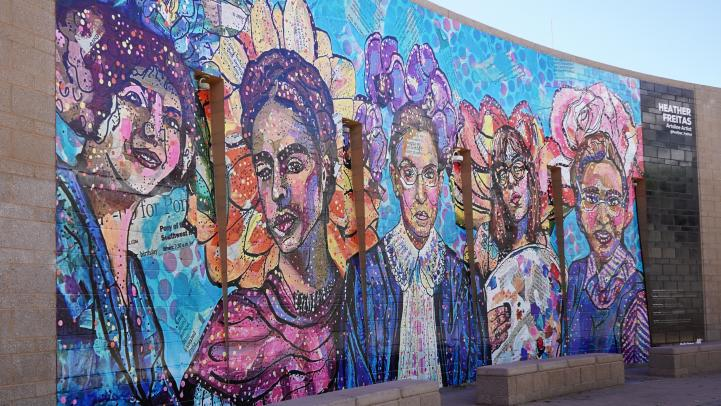 Women historical figures on the Roosevelt/Central Ave wall