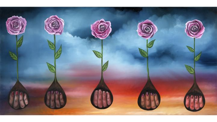 Artist Lauren Lee painting of flowers
