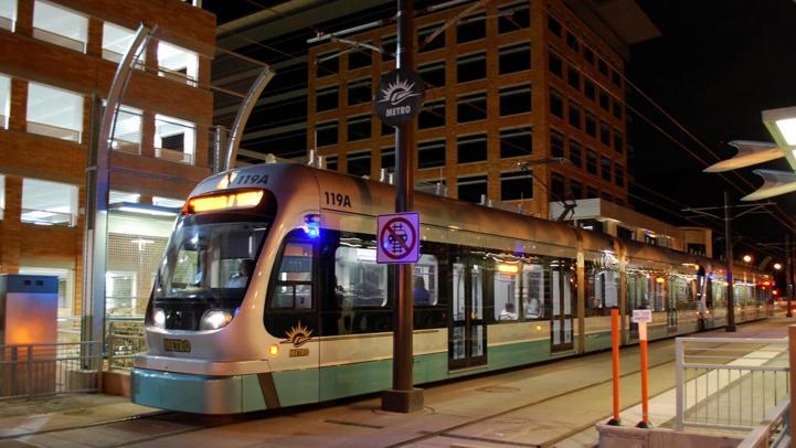 Light rail train at night