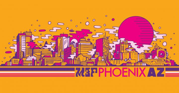 Phoenix city skyline cartoon style in orange, pink & purple