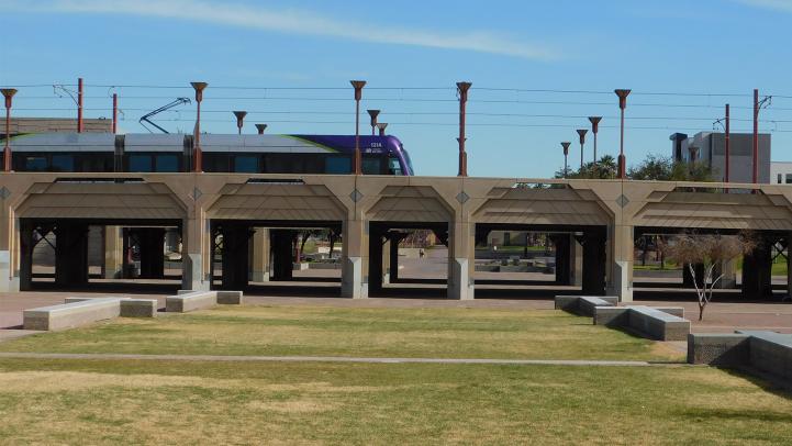 Light rail train drives down Central Avenue