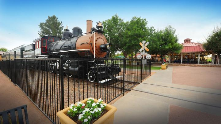 Train at the entrance of Railroad Park