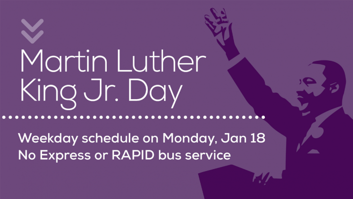 Martin Luther King Jr. Day, Weekday schedule on Monday January 18.