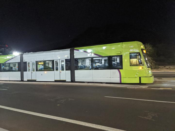 Tempe Streetcar on its alignment in Tempe