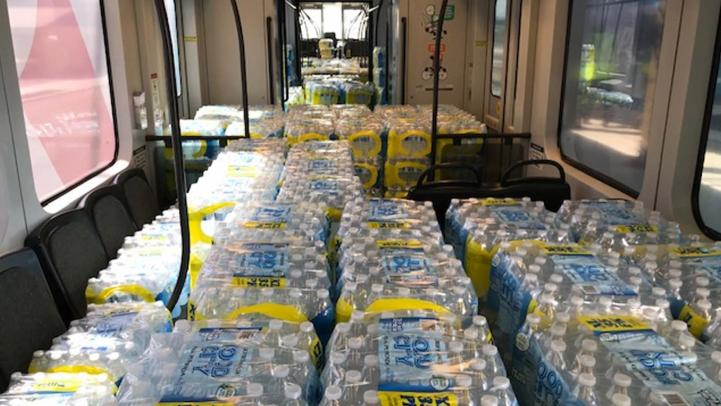 One of the tests involves filling a train with bottles of water to simulate the weight of passengers