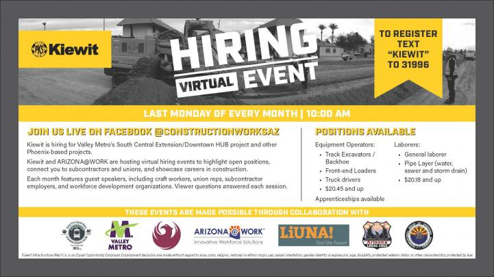 Kiewit Hiring Event Flyer. More information in description below.
