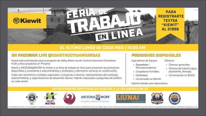 Feria de trabajo en linea flyer. Más información a continuación.