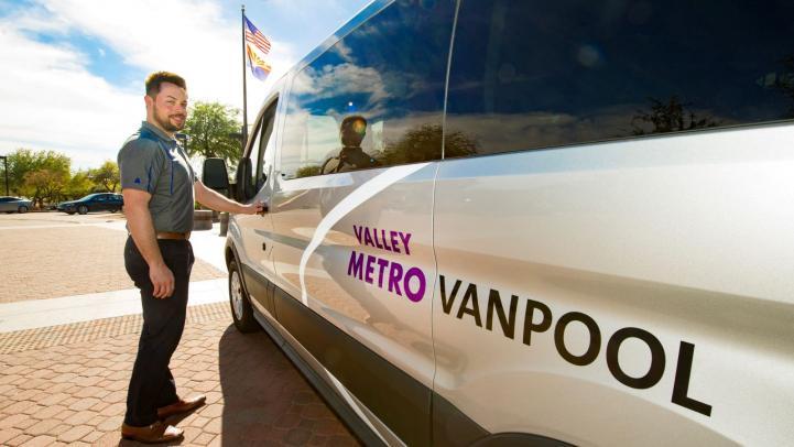 Vanpool driver getting Valley Metro van