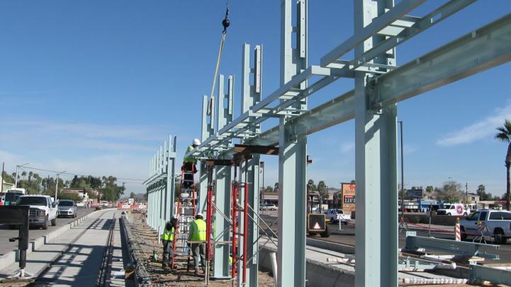 light rail station construction