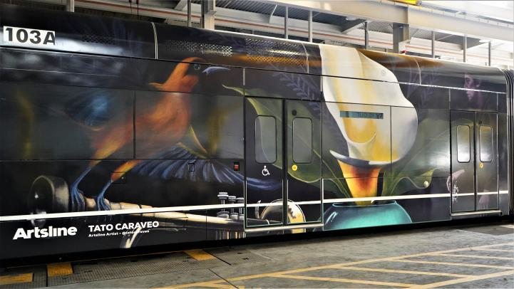 light rail train with Tato Caraveo's art of a bird and a flower