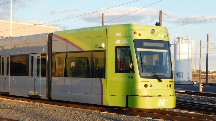 Valley Metro Streetcar at sunset